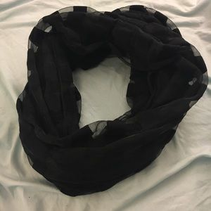 Striped Black and Sheer Circle Scarf